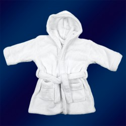 WHITE BABY BATHROBES 0-24m