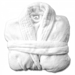 WHITE ADULT FLANNEL ROBE