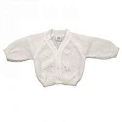 WHITE BABY CARDIGAN 0-18M